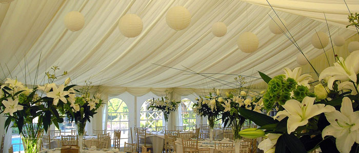 Marquee lining & interiors rental Gloucestershire